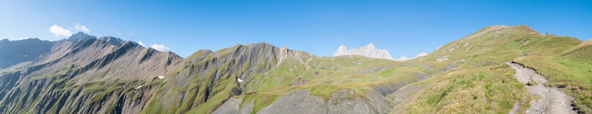 Alps, France (behind Grand Col Ferret) - Panorama Stock Image