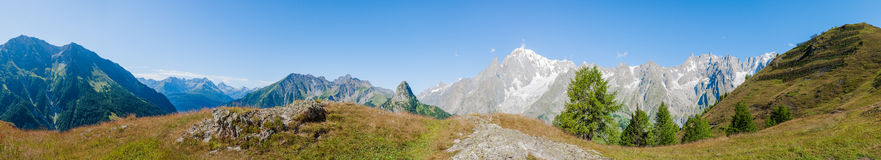 Alps, France (by Courmayeur) - Panorama Royalty Free Stock Photos
