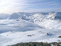 The Alps in France. A crystal clear sky blue day in the Alps, France Stock Images
