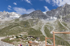 The Alps, France Italy border, 29 July 2017 - Spectacular view t. Spectacular view of Mount Blanc Royalty Free Stock Photos