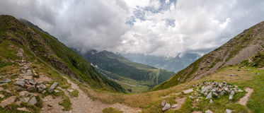 Alps Frankrike (Kolonn de Tricot) - panorama Arkivbild