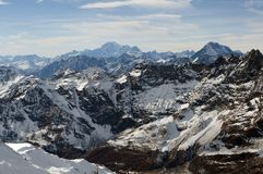 Alpine range. The Alps are the highest and most extensive mountain range system that lies entirely in Europe, stretching approximately 1,200 kilometres 750 mi Stock Images