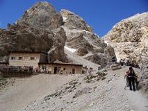 Alps hut. The last effort to reach the mountain hut Stock Photos