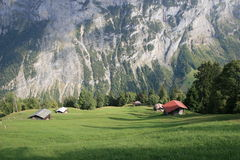 Alps hut in Gimmelwald Switzerland. View of the Alps hut's in Murren Royalty Free Stock Photos