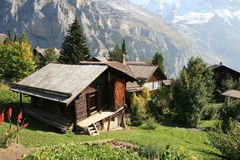 Alps hut in Murren Switzerland Stock Images