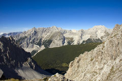 The Alps in Innsbruck. Peaks and valleys in the Alps mountain from Hafelekarspitze stock image