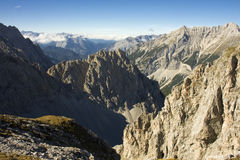 The Alps in Innsbruck. Peaks and valleys in the Alps mountain from Hafelekarspitze stock photography