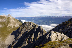 The Alps in Innsbruck. Peaks and valleys in the Alps mountain from Hafelekarspitze stock photos