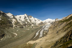 Alps. Johannisberg summit,Grossglockner (left) and Pasterze glacier in the Hohe Tauern National Park, Austria Royalty Free Stock Image