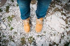 Alps kroki na bielu kamienia ścieżce Obrazy Stock