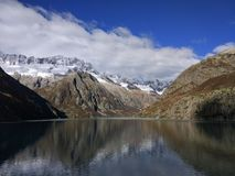 Alps and lake. Göscheneralpsee lake in Alps in middle Switzerland at the morning Stock Photography
