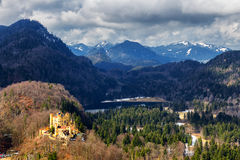Alps and lakes in a summer day in Germany. Taken from the hill next to Neuschwanstein castle Stock Image