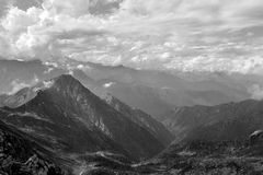 Italian Alps in Valsesia. A black and white panoramic view of the Italian Alps in Valsesia, Italy royalty free stock image