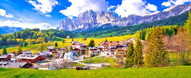 Alps landscape in Cortina D` Ampezzo panoramic view. Idyllic mountain peaks of Dolomites, South Tyrol region of Italy stock photo