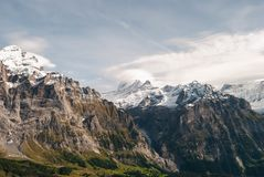 Alps landscape in the summer. Beautiful view of Swiss Alps peaks snow nature europe beauty tourism high mountain cold jungfrau sharpen rock extremely background stock image
