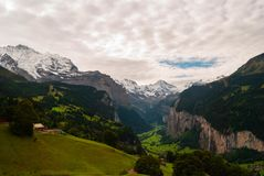 Alps landscape in the summer. Beautiful view of Swiss Alps peaks snow nature europe beauty tourism high mountain cold jungfrau sharpen rock extremely background stock photo