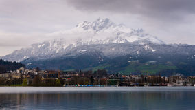 Alps with Luzern lake. In the morning Stock Photography