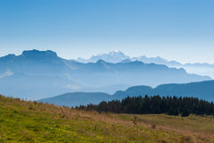 Alps and Mont Blanc (Monte Bianco). View from Cret de Chatillon, France Stock Photo