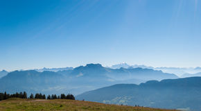 Alps and Mont Blanc (Monte Bianco). View from Cret de Chatillon, France Stock Photography