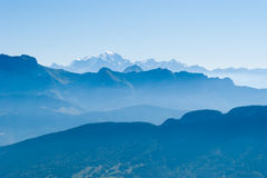 Alps and Mont Blanc (Monte Bianco). View from Cret de Chatillon, France Stock Image