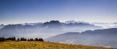 Alps and Mont Blanc. (Monte Bianco) view from Cret de Chatillon, France Royalty Free Stock Photos