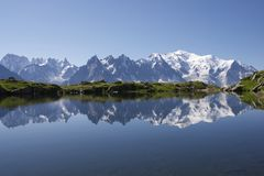 Alps. Mont Blanc reflected in Cheserys Lake, Mont Blanc Massif, Alps, France royalty free stock photos