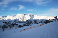 Alps morning in the winter of Ischgl - Mountain Alps, Austria Royalty Free Stock Photos