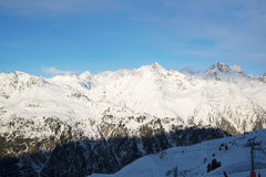 Alps morning in the winter of Ischgl - Mountain Alps, Austria Royalty Free Stock Photography