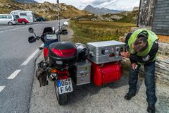 Alps moto tour with sidecar. Around the mounains royalty free stock photography