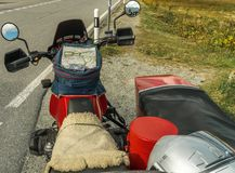 Alps moto tour with sidecar. Over the mountains stock photos