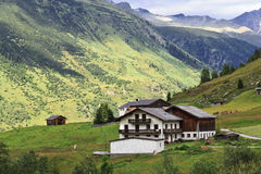 Alps Mountain House. At the summer time in Austria Royalty Free Stock Images
