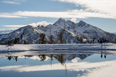 Alps mountain landscape. Winter landscape. With lake Royalty Free Stock Images