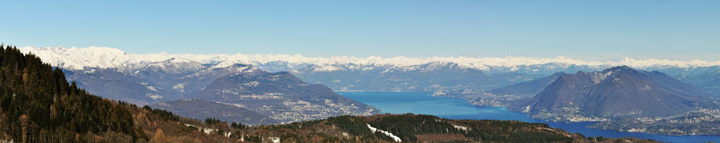 Alps mountain and Maggiore lake panorama. View from top Stock Photography