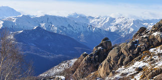 Alps mountain panorama and rocks. Alps mountain range panorama and rocks Stock Photo