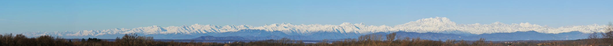Alps mountain range, wide panorama Royalty Free Stock Photo