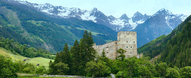 Alps mountain summer view and castle Stock Image