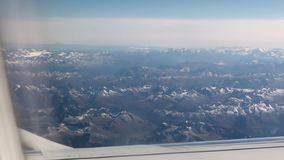 Alps mountains from airplane stock footage