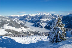 Alps Mountains in Austria Skiing Beautiful weather. Royalty Free Stock Photography
