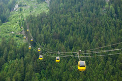 The Alps mountains cableway Royalty Free Stock Photos