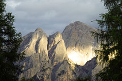 Alps mountains Dolomites after rain storm at sunset Stock Photography
