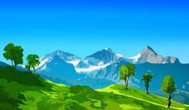 Alps mountains. With green fields and snow rocks Royalty Free Stock Photo