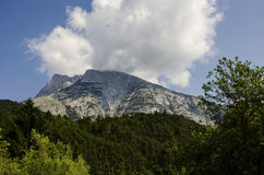 Alps mountains with green forest cloud and blue sky Royalty Free Stock Photography