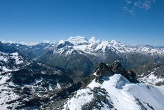 The Alps Mountains - Between Ice and Snow. The Alps are one of the great mountain range systems of Europe stretching approximately 1,200 kilometres (750 mi) Royalty Free Stock Photos