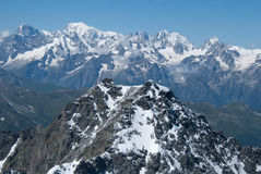 The Alps Mountains - Between Ice and Snow. The Alps are one of the great mountain range systems of Europe stretching approximately 1,200 kilometres (750 mi) Stock Photo