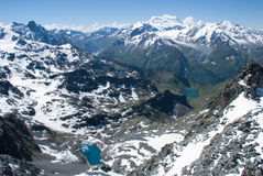 The Alps Mountains - Between Ice and Snow. The Alps are one of the great mountain range systems of Europe stretching approximately 1,200 kilometres (750 mi) Royalty Free Stock Photography