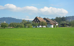 Alps mountains landscape with houses. Royalty Free Stock Photography
