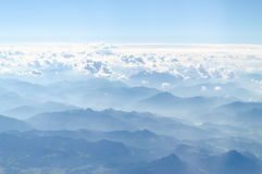Alps mountains plaim view from top Stock Photo