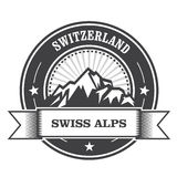 Alps Mountains stamp - Switzerland label. With ribbon Stock Photo