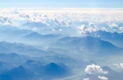 Alps mountains top view from a plain Stock Photography