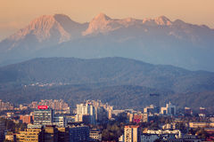 Alps over the city of Ljubljana during the sunset, October of 2015 Royalty Free Stock Photography